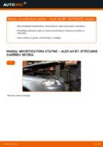 Audi A4 B7: priekšpusē amortizatora statne – nomaiņas rokasgrāmata