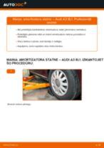 Audi A3 8L1: priekšpusē amortizatora statne – nomaiņas rokasgrāmata