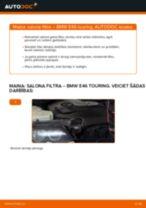 Tiešsaistes rokasgrāmata, kā pašam mainīt Salona filtrs uz BMW 3 Touring (E46)
