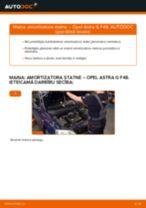 Opel Astra G F48: priekšpusē amortizatora statne – nomaiņas rokasgrāmata
