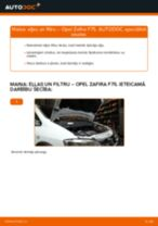 Opel Zafira F75: motoreļļas un filtra – nomaiņas rokasgrāmata