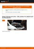 Opel Zafira F75: degvielas filtra – nomaiņas rokasgrāmata