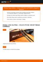 Volvo V70 SW: priekšpusē logu slotiņu – nomaiņas rokasgrāmata
