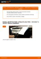 VW Golf 3: aizmugurē amortizatoru atbalsta gultnis – nomaiņas rokasgrāmata