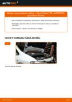 Opel Zafira F75: priekšpusē amortizatora statne – nomaiņas rokasgrāmata
