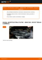 BMW E60: priekšpusē amortizatora statne – nomaiņas rokasgrāmata