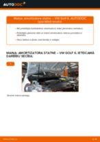 VW Golf 6: priekšpusē amortizatora statne – nomaiņas rokasgrāmata
