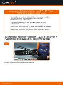 Wie der Wechsel durchführt wird: Scheibenwischer 1.9 TDI Audi A4 B5 Avant tauschen
