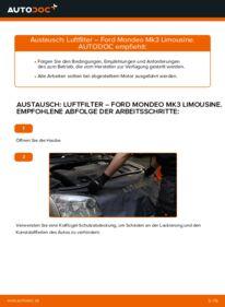 Wie der Wechsel durchführt wird: Luftfilter 2.0 TDCi Ford Mondeo mk3 Limousine tauschen