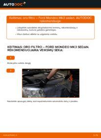 Kaip atlikti keitimą: 2.0 TDCi Ford Mondeo mk3 Sedanas Oro filtras