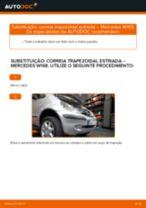Como mudar correia trapezoidal estriada em Mercedes W168 - guia de substituição