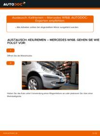 Wie der Wechsel durchführt wird: Keilrippenriemen A 140 1.4 (168.031, 168.131) Mercedes W168 tauschen