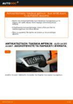 Πώς να αλλάξετε τακάκια φρένων εμπρός σε Audi A4 B5 Avant - Οδηγίες αντικατάστασης