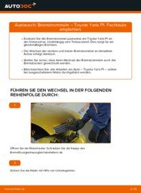 Wie der Wechsel durchführt wird: Bremstrommel 1.0 (SCP10_) Toyota Yaris p1 tauschen