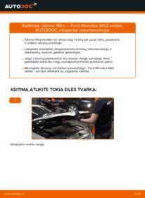 Kaip atlikti keitimą: 2.0 TDCi Ford Mondeo mk3 Sedanas Oro filtras, keleivio vieta