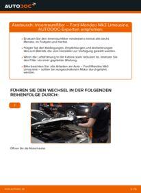 Wie der Wechsel durchführt wird: Innenraumfilter 2.0 TDCi Ford Mondeo mk3 Limousine tauschen