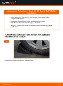 Wie der Wechsel durchführt wird: Stoßdämpfer 1.9 TDI Audi A4 B5 Avant tauschen