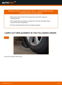 How to carry out replacement: Shock Absorber on 1.9 TDI Audi A4 B5 Avant