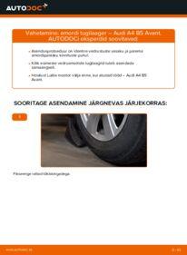 Kuidas välja vahetamist läbi viia: 1.9 TDI Audi A4 B5 Avant Amordi Tugilaager