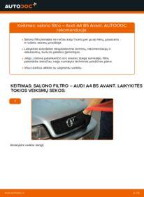 Kaip atlikti keitimą: 1.9 TDI Audi A4 B5 Avant Oro filtras, keleivio vieta