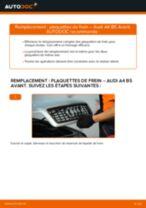 Comment changer et régler Kit de plaquettes de frein AUDI A4 : tutoriel pdf