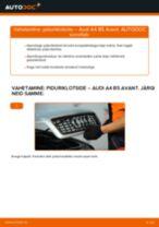 Audi 80 B2 vahetada Piduriklotsid eesmine ja tagumine: käsiraamatute pdf