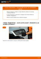 Cseréljünk Fékbetét AUDI A4: felhasználói kézikönyv