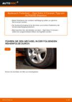 Hinweise des Automechanikers zum Wechseln von OPEL Opel Astra G CC 1.6 (F08, F48) Federn