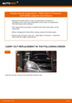 How to replace and adjust Brake pad set OPEL ASTRA: pdf tutorial