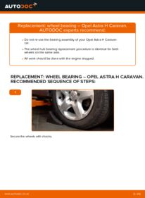 How to carry out replacement: Wheel Bearing on 1.6 (L35) Astra H Caravan