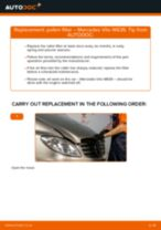 Step by step PDF-tutorial on Pollen Filter MERCEDES-BENZ VITO Bus (W639) replacement