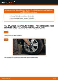 Kuidas välja vahetamist läbi viia: 2.0 TDCi Ford Mondeo mk3 Sedaan Käsijarru Vaijeri
