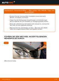Wie der Wechsel durchführt wird: Innenraumfilter 115 CDI 2.2 Mercedes Vito W639 tauschen