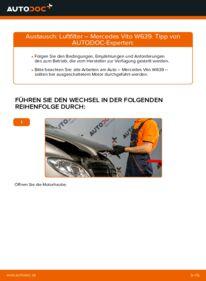 Wie der Wechsel durchführt wird: Luftfilter 115 CDI 2.2 Mercedes Vito W639 tauschen