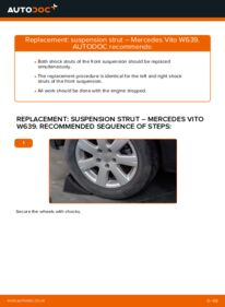 How to carry out replacement: Shock Absorber on 115 CDI 2.2 Mercedes Vito W639
