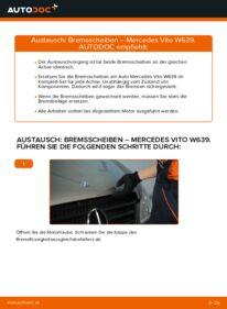 Wie der Wechsel durchführt wird: Bremsscheiben 115 CDI 2.2 Mercedes Vito W639 tauschen
