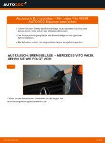 Wie der Wechsel durchführt wird: Bremsbeläge 115 CDI 2.2 Mercedes Vito W639 tauschen
