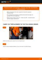 Replacing Accessory Kit, disc brake pads HONDA JAZZ: free pdf