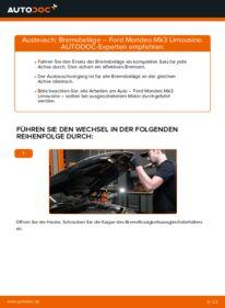 Wie der Wechsel durchführt wird: Bremsbeläge 2.0 TDCi Ford Mondeo mk3 Limousine tauschen