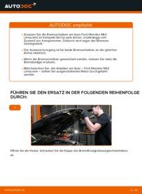 Wie der Wechsel durchführt wird: Bremsscheiben 2.0 TDCi Ford Mondeo mk3 Limousine tauschen