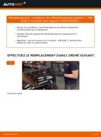 Comment effectuer un remplacement de Radiateur de Refroidissement Moteur sur 1.8 GTI VW GOLF II (19E, 1G1)