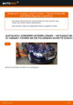 Wie VW Passat 3C B6 Variant vorderer unterer Lenker wechseln - Schritt für Schritt Anleitung