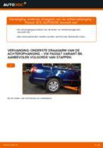 Hoe onderste draagarm van de achterophanging vervangen bij een VW Passat 3C B6 Variant – vervangingshandleiding