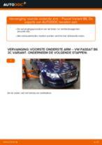 Hoe voorste onderste arm vervangen bij een VW Passat 3C B6 Variant – Leidraad voor bij het vervangen