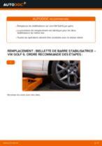 Manuel en ligne pour changer vous-même de Entretoise tige stabilisateur sur VW GOLF VI (5K1)