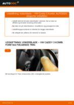 Hvordan skifter man og justere Vinduesvisker VW CADDY: pdf manual