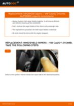 How to change front windshield wipers on VW Caddy 3 Kombi – replacement guide