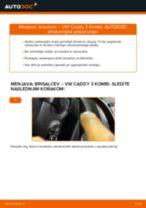 Zamenjavo Metlica brisalnika stekel VW CADDY: navodila za uporabo