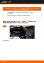 Kako zamenjati avtodel zračni filter na avtu VW Passat 3C B6 Variant – vodnik menjave