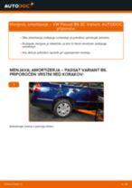 Kako zamenjati avtodel amortizer zadaj na avtu VW Passat 3C B6 Variant – vodnik menjave